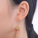 Solid 24K Gold Milled Pattern Square Drop Earrings - Ables Mall
