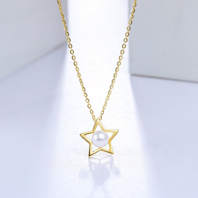 Freshwater Pearl Accent Star Necklace Charm in 18K Gold (No Chain) - Ables Mall