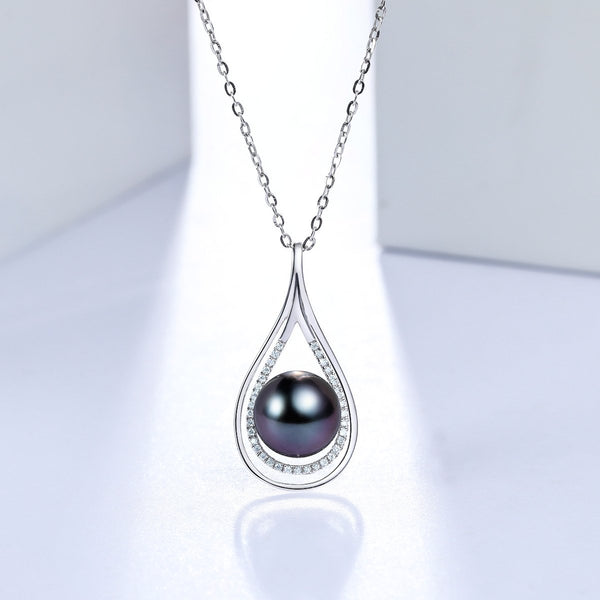 South Sea Saltwater Pearl Diamond Accent Teardrop Necklace Charm in 18K Gold (No Chain) - Ables Mall