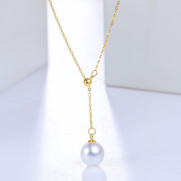 9mm Freshwater Pearl Necklace in 18K Gold - Ables Mall