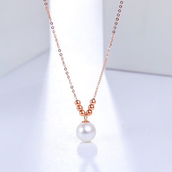 8mm Freshwater Pearl Gold Beads Necklace in 18K Gold - Ables Mall