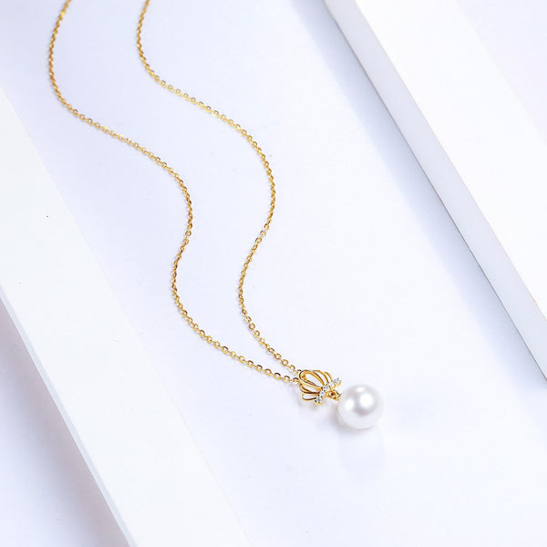 Freshwater Pearl Diamond Accent Crown Queen Necklace Charm in 18K Gold (No Chain) - Ables Mall