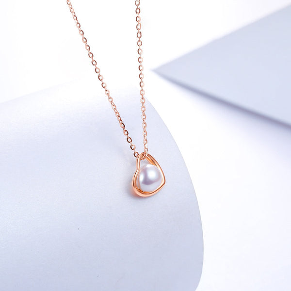 Freshwater Pearl Diamond Accent Love Heart Necklace Charm in 18K Gold (No Chain) - Ables Mall