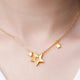 Matt and Polished Stars Necklace in 24K Gold 16 Inch