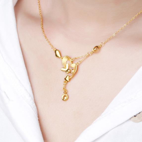 Love Heart Butterfly Necklace in 24K Gold 17.70 Inch - Ables Mall