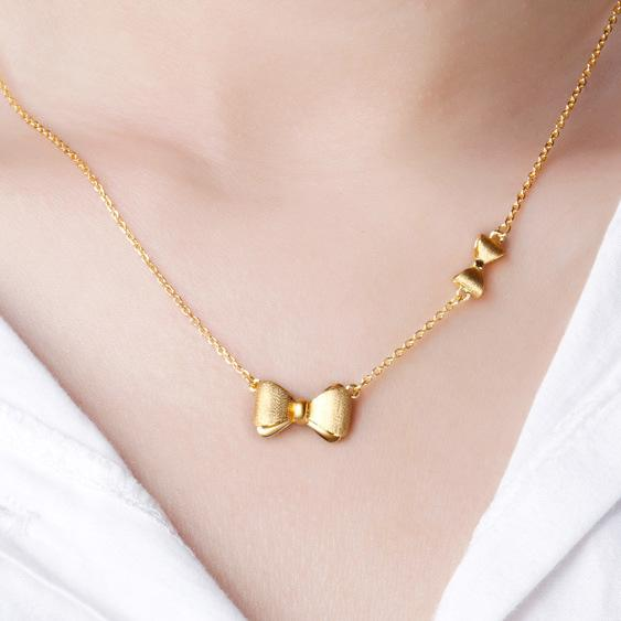 Solid Gold Knots and Bows Necklace 42cm in 24K Gold - Ables Mall