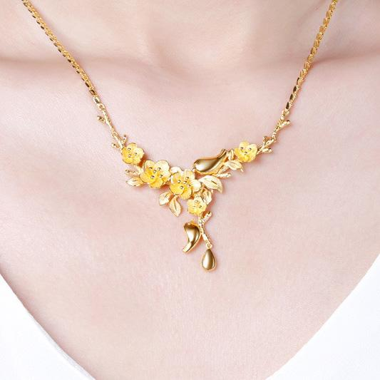 Mandarin Ducks on Flower Branch Wedding Necklace 43.5cm in 24k Gold - Ables Mall