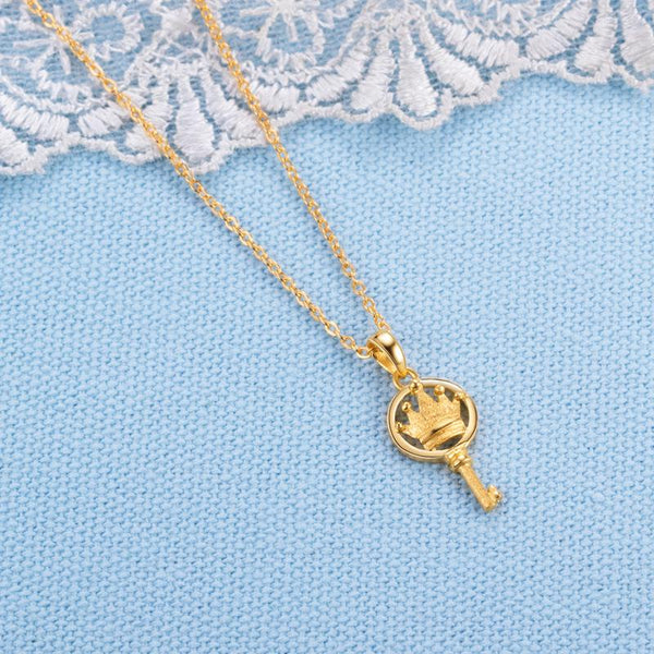 Queen's Key Crown Pendant Necklace in 24k Gold 16 Inch - Ables Mall