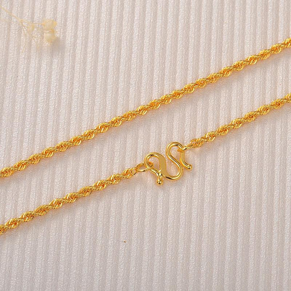 Rope Chain Necklace in 24k Gold 16 Inch - Ables Mall