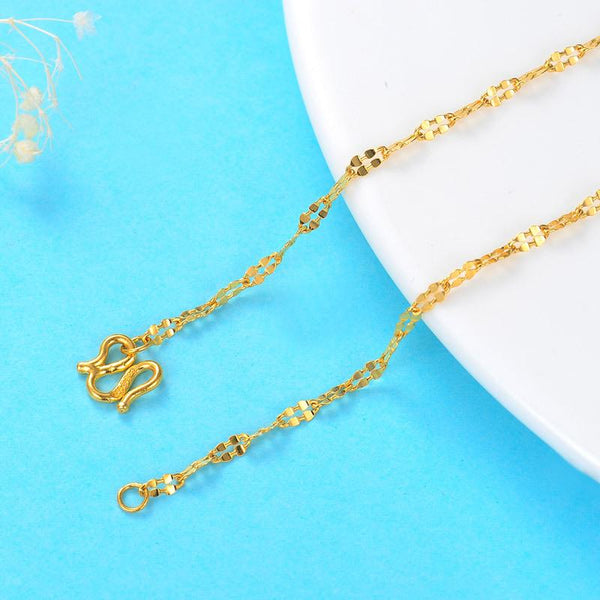 Flattened Singapore Chain Necklace in 24k Gold 16 Inch - Ables Mall