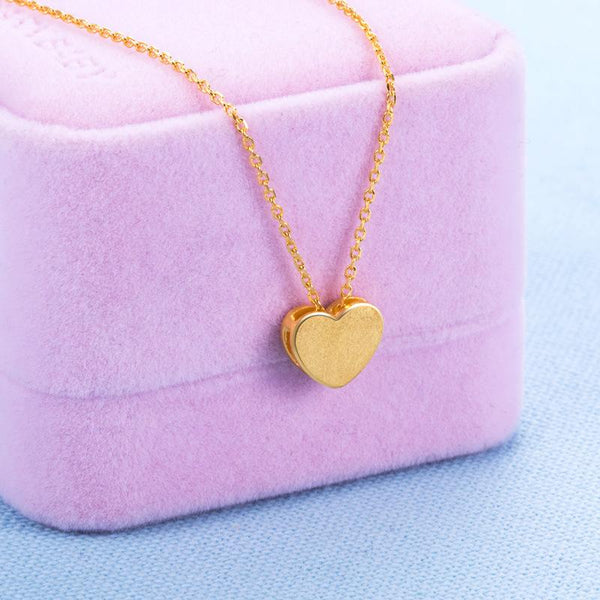 Matt and Brushed Love Heart Pendant Necklace in 24k Yellow Gold 42cm - Ables Mall