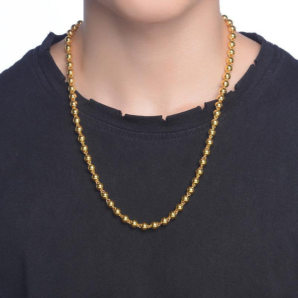 Polished Beads Round Ball Chain Necklace in 24k Yellow Gold 17 inch - Ables Mall