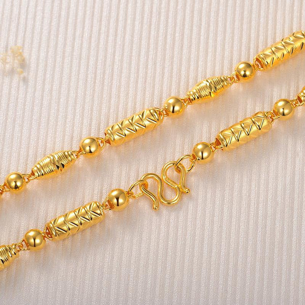 Milled Pattern Long and Oval Beads Chain Necklace in 24k Yellow Gold 17 inch - Ables Mall