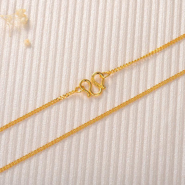 Solid Gold Curb Chain Necklace in 24k Yellow Gold 17 inch - Ables Mall