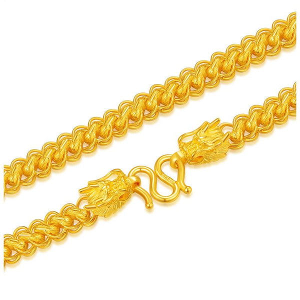 Solid 24K Yellow Gold Double Dragon Head Chain Necklace 17 inch - Ables Mall