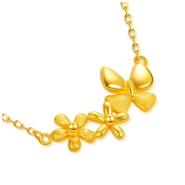 Solid 24K Yellow Gold Flower and Butterfly Necklace 45cm - Ables Mall
