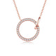 Diamond Accent Interlocking Circles Pendant Necklace in 18K Rose Gold 45cm