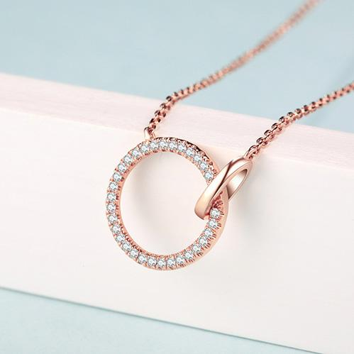 Diamond Accent Interlocking Circles Pendant Necklace in 18K Rose Gold 45cm - Ables Mall