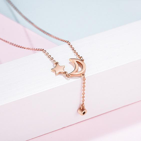 Diamond Accent Crescent Moon and Star Necklace in 18K Rose Gold 45cm - Ables Mall