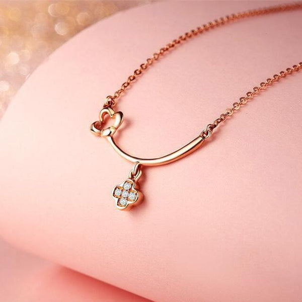 Diamond Accent Clover Celtic Necklace in 18K Rose Gold 45cm - Ables Mall