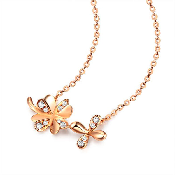 Diamond Accent Solid Clover Celtic Necklace in 18K Rose Gold 45cm - Ables Mall
