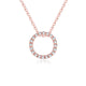 Diamond Accent Circle Pendant Necklace in 18K Rose Gold 45cm