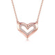 Diamond Accent Halo Love Heart Pendant Necklace in 18K Rose Gold 45cm
