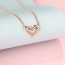 Diamond Accent Halo Love Heart Pendant Necklace in 18K Rose Gold 45cm - Ables Mall