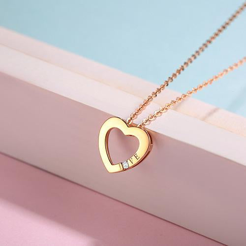 Diamond Accent Love Heart Pendant Necklace in 18K Rose Gold 45cm - Ables Mall