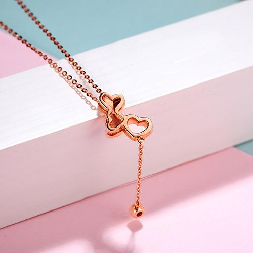 3 Love Hearts Diamond Accent Pendant Necklace in 18K Rose Gold 45cm - Ables Mall