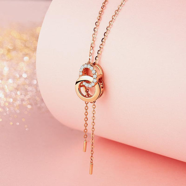 2 Interlocking Circle Diamond Accent Halo Pendant Necklace in 18K Rose Gold 45cm - Ables Mall