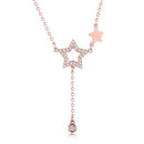 Diamond Accent Star Pendant Necklace in 18K Rose Gold 45cm - Ables Mall