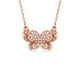 Diamond Accent Butterfly Pendant Necklace in 18K Rose Gold 45cm