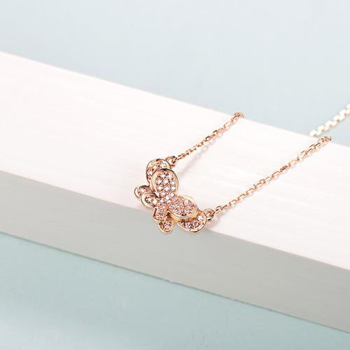 Diamond Accent Butterfly Pendant Necklace in 18K Rose Gold 45cm - Ables Mall