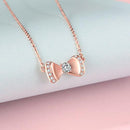 Diamond Accent Bow Knot Pendant Necklace in 18K Rose Gold 45cm - Ables Mall