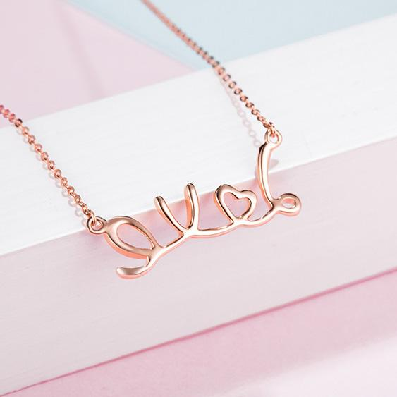 Love Letters Diamond Accent Necklace in 18K Rose Gold 45cm - Ables Mall
