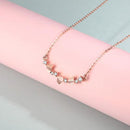 3 Love Hearts Diamond Accent Necklace in 18K Rose Gold 45cm - Ables Mall