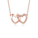 Interlocking Love Hearts Diamond Accent Pendant Necklace in 18K Rose Gold 45cm