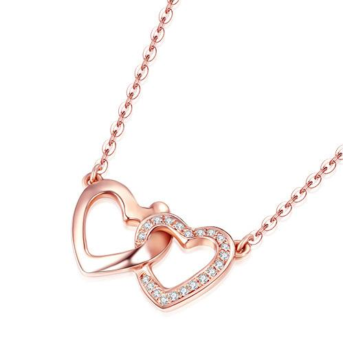 Interlocking Love Hearts Diamond Accent Pendant Necklace in 18K Rose Gold 45cm - Ables Mall