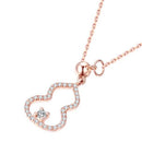 Diamond Paved Gourd Pendant Necklace in 18K Rose Gold 45cm - Ables Mall