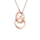 Interlocking Circles Diamond Accent Pendant Necklace in 18K Rose Gold 45cm