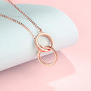 Interlocking Circles Diamond Accent Pendant Necklace in 18K Rose Gold 45cm - Ables Mall