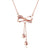 Diamond Accent Bow Knot with Heart Charms Necklace in 18K Rose Gold 45cm - Ables Mall