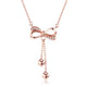 Diamond Accent Bow Knot with Heart Charms Necklace in 18K Rose Gold 45cm