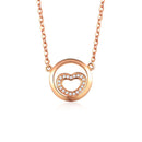 Diamond Accent Love Heart in a Circle Necklace in 18K Rose Gold 45cm - Ables Mall