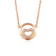Diamond Accent Love Heart in a Circle Necklace in 18K Rose Gold 45cm