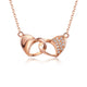 Diamond Accent Interlocking Love Heart Necklace in 18K Rose Gold 45cm