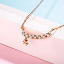 Diamond Accent Long Bar with Charm Necklace in 18K Rose Gold 45cm - Ables Mall