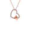 18K Rose Gold Love Heart Diamond Accent Pendant Necklace 45cm