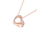 18K Rose Gold Love Heart Diamond Accent Pendant Necklace 45cm - Ables Mall